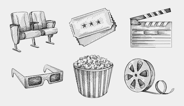 Ensemble de croquis dessinés à la main de l'industrie du cinéma. aller au cinéma. regarder un film. lunettes 3d, deux sièges de cinéma, bande de film, clap, deux billets de cinéma, grande tasse de pop-corn