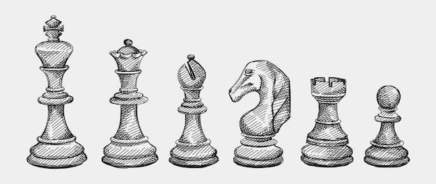 Ensemble de croquis dessinés à la main de pièces d'échecs. échecs. vérifiez compagnon. roi, reine, évêque, chevalier, tour, pion
