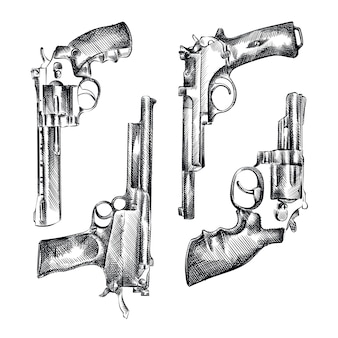 Ensemble de croquis dessinés à la main de pistolets vintage. l'ensemble comprend des revolvers, des pistolets, des fusils, des fusils de chasse, des poulains, des armes de la marine