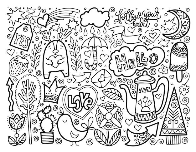 Ensemble de croquis de doodle dessin de beaux éléments, noir et blanc