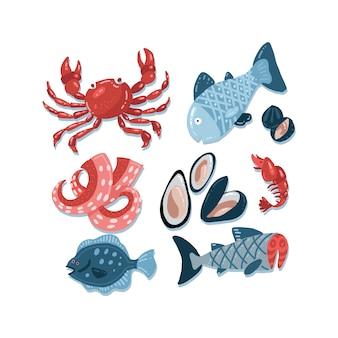 Ensemble de croquis de fruits de mer simples bruts dessinés à la main de couleur plate.