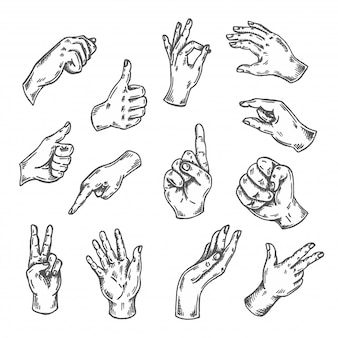 Ensemble de croquis de geste de la main