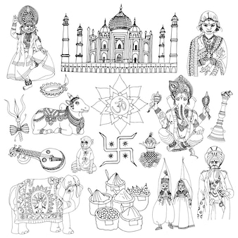 Ensemble de croquis de l'inde