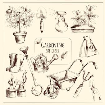 Ensemble de croquis de jardinage