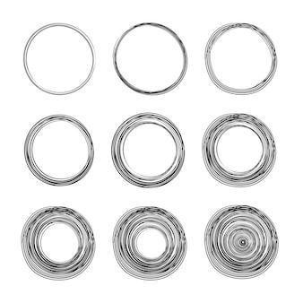 Ensemble de croquis de ligne cercle dessiné à la main. cercles de griffonnage circulaire pour élément de conception de marque de note de message. crayon ou stylo graffiti bulle ou illustration de projet de balle.