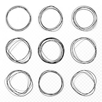 Ensemble de croquis de ligne de cercle dessiné à la main. champs vectoriels ronds d'écriture, cercles pour les messages peints avec un stylo ou un crayon.