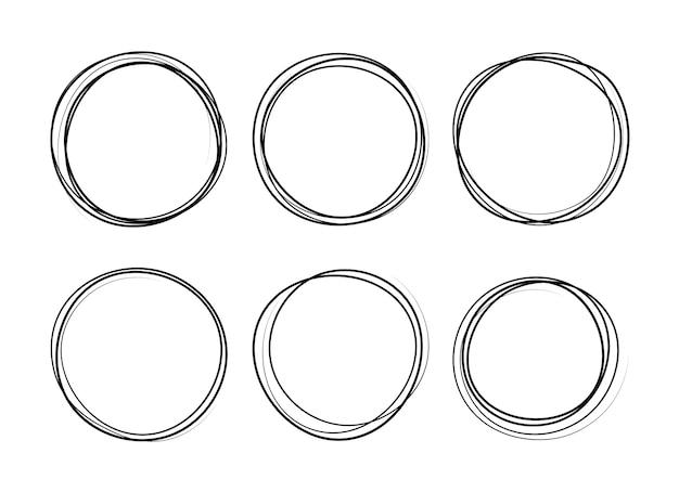 Ensemble de croquis de ligne cercle dessiné à la main