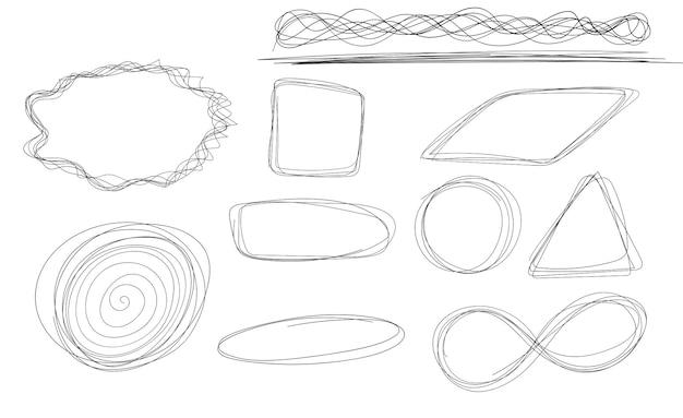 Ensemble de croquis de ligne de cercle dessinés à la main, cercles de griffonnage circulaires de vecteur pour la marque de note de message