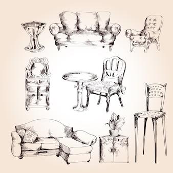 Ensemble de croquis de meubles