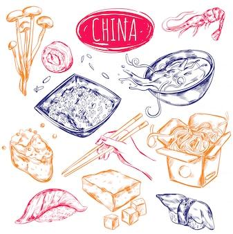 Ensemble de croquis de nourriture de chine