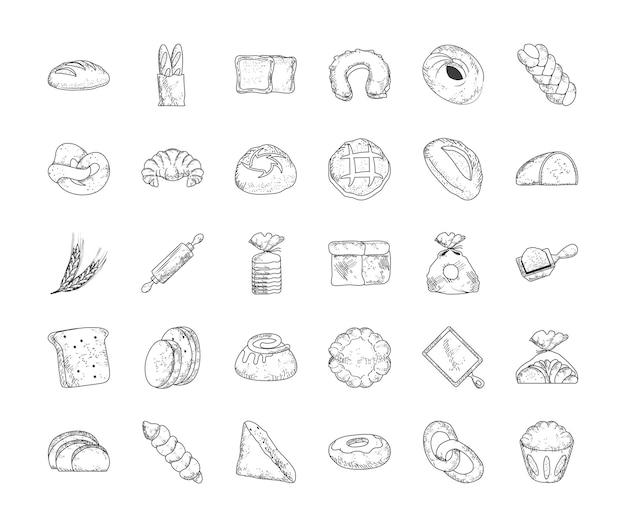 Ensemble de croquis de pain de boulangerie alimentaire