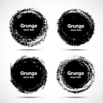 Ensemble de croquis de pinceau cercle dessiné à la main. grunge circulaire doodle cercles ronds pour élément de conception de message note mark. texture de tache de frottis de pinceau. bannières, logos, icônes, étiquettes et insignes.