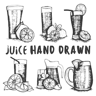Ensemble de croquis de verre de jus de fruits dessinés à la main.