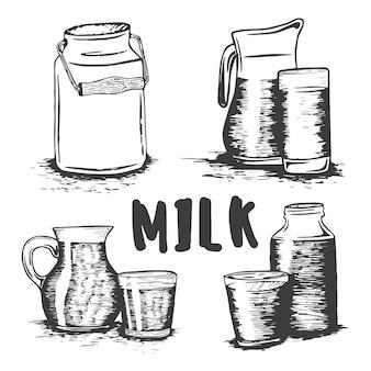 Ensemble de croquis de verre de lait dessinés à la main