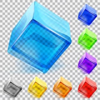 Ensemble de cubes en verre transparent multicolore