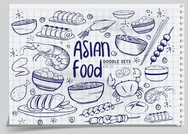 Ensemble de cuisine asiatique dessinés à la main isolé sur fond blanc. illustration vectorielle