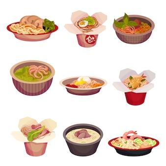 Ensemble de cuisine asiatique isolé sur blanc