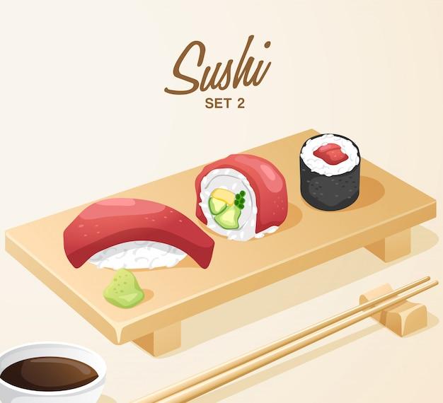 Ensemble de cuisine japonaise: ensemble de sushi mixte sur plaque de bois