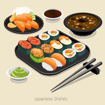 Ensemble de cuisine japonaise. menu savoureux, riz et rouleau, ingrédient et sauce,