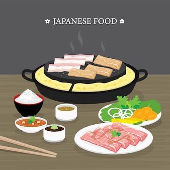 Ensemble de cuisine japonaise traditionnelle, version yakiniku du barbecue coréen. bœuf cru et tranche de porc cuisson barbecue et grillés. illustration de dessin animé