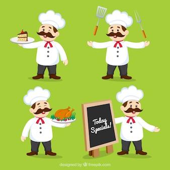 Ensemble de cuisinier souriant dans différentes postures