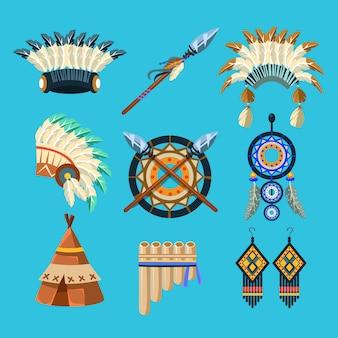 Ensemble de culture indienne amérindienne