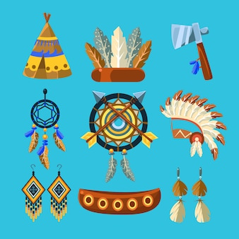 Ensemble de culture des indiens d'amérique du nord