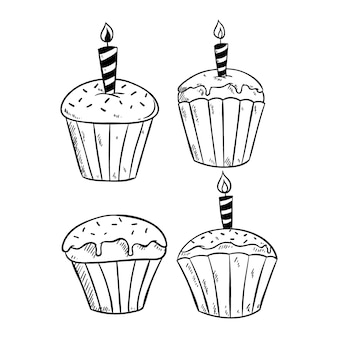 Ensemble de cupcake avec bougie et utilisant un croquis ou un style dessiné à la main