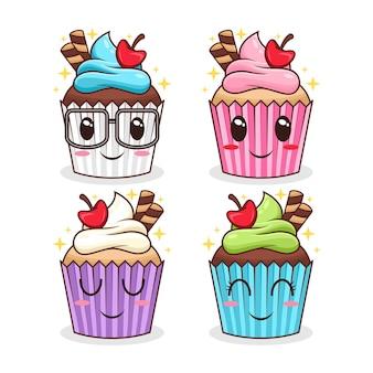 Ensemble, de, cupcake, caractère, dessin animé, illustration