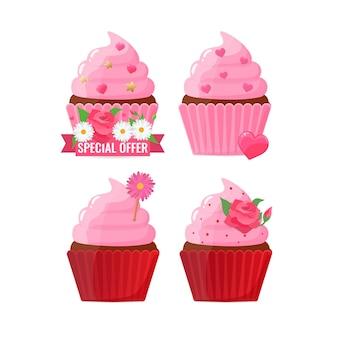 Ensemble de cupcakes décorés de façon festive avec des fleurs et des coeurs. cuisson, gâteau maison