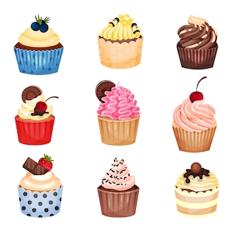Ensemble de cupcakes avec différentes garnitures et crèmes