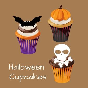 Ensemble de cupcakes d'halloween colorés.