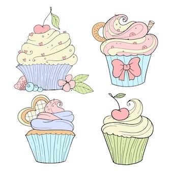 Ensemble de cupcakes, illustration vintage