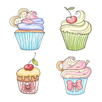 Ensemble de cupcakes, illustration vintage