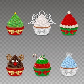 Ensemble de cupcakes de noël avec des arcs
