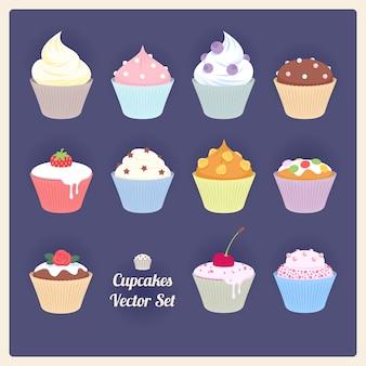 Ensemble de cupcakes vectoriels assortis sur fond sombre.