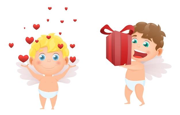 Ensemble de cupidons des anges pour la saint valentin