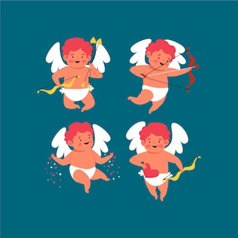 Ensemble de cupidons dessinés pour la saint-valentin
