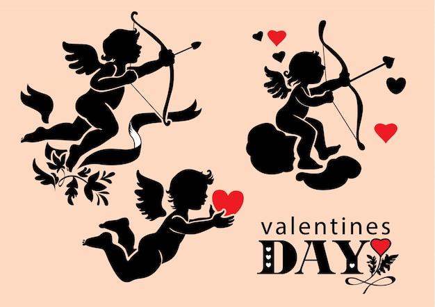 Ensemble de cupids saint-valentin