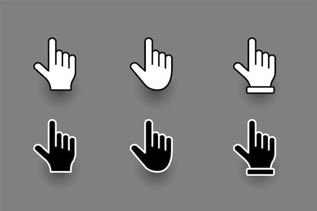 Ensemble de curseur de pointeur de doigt de main plate