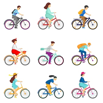 Ensemble de cyclistes cyclistes à vélo sur fond blanc