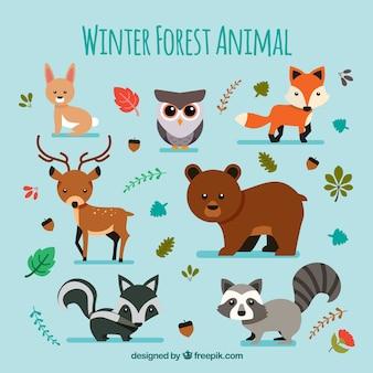 Ensemble d'animaux d'hiver mignon