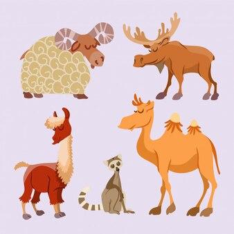 Ensemble d'animaux de dessin animé