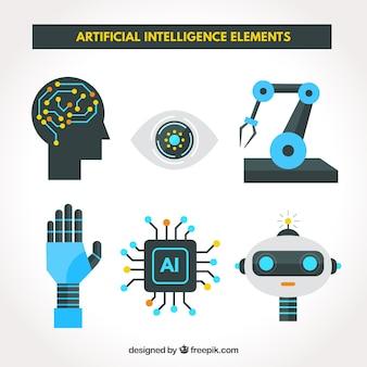 Ensemble d'éléments d'intelligence artificielle en design plat