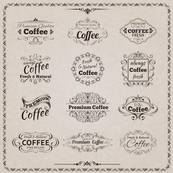 Ensemble d'emblème de café