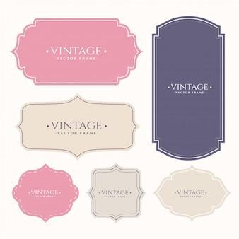 Ensemble d'étiquettes de cadre vintage