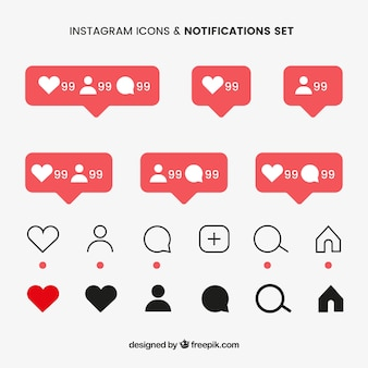 Ensemble d'icônes et de notifications instagram plat