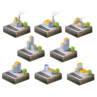 Ensemble d'icônes vectorielles isométrique au thème de la ville