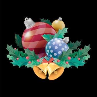 Ensemble d'illustration d'objets de décoration de Noël