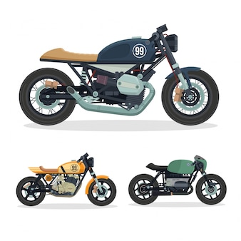 Ensemble d'Illustration de Moto Vintage Racer Motorcycle